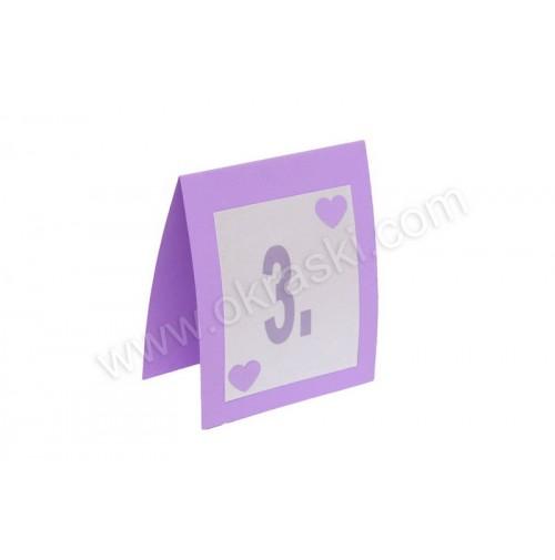 Kartica za mizo - lila/srce