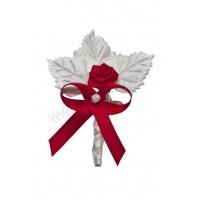Poročni naprsni šopek - bordo/rdeči - vrtnica/listki
