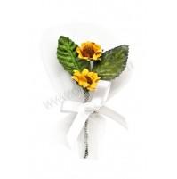 Poročni naprsni šopek - belo/zelen - sončnica
