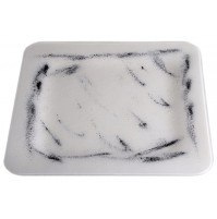 Stekleni krožnik - kvadrat - belo/črni