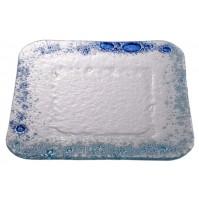 Stekleni krožnik - kvadrat - srednji - turkizno/modri (komplet)