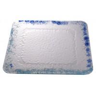 Stekleni krožnik - kvadrat - veliki - turkizno/modri (komplet)