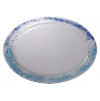 Stekleni krožnik  - okrogli - modro/turkizni