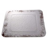 Stekleni krožnik - kvadrat - mali - rjavi (komplet)