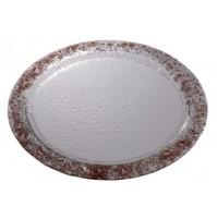 Stekleni krožnik - okrogli - rjavi