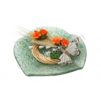 Konfet-steklen/oranžna vrtnica-metulj 2