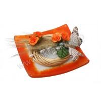 Konfet-steklen/oranžna vrtnica-metulj 1