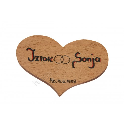 Poročni konfet - 2/1 - leseno SRCE/napis