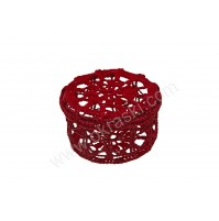 Poročni konfet - kvačkana škatlica/rdeča