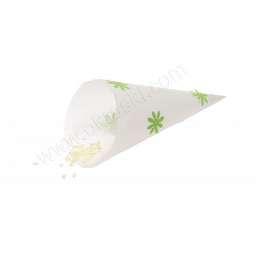 Poročni stožec za riž/cvetne lističe - zelen