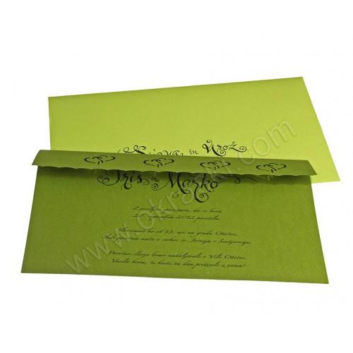 Vabilo - zeleno/kaligrafija - izsek src