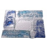 Stekleni pepelnik - modro/turkizen