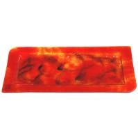 Stekleni pladenj - oranžno/črn