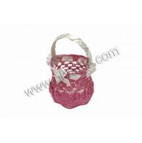 Poročni konfet - roza/košarica-kvačkana
