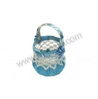 Poročni konfet - modra/košarica-kvačkana