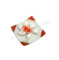 Poročni konfet - oranžen/rožica - steklen