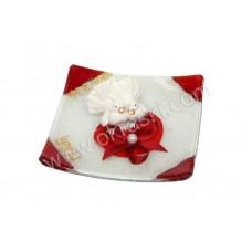 Poročni konfet - rdeč/golobčka - steklen