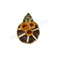Poročni naprsni šopek - pomaranča/sončnica