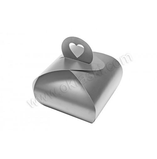 Poročna škatla za pecivo - srebrna - mala