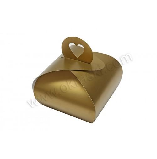 Poročna škatla za pecivo - zlata - mala