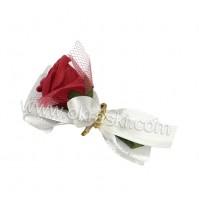 Poročni naprsni šopek - bordo/rdeča - vrtnica 1