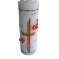Poročna sveča - oranžna/rožice