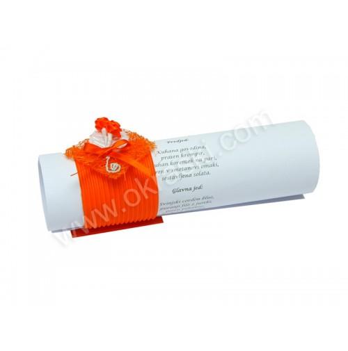 Poročna menu karta - oranžna/vrtnica