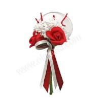 Poročni naprsni šopek - rdeča/vrtnica - loparček 1