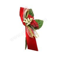 Poročni naprsni šopek - bordo/vrtnica 2