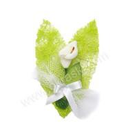 Poročni naprsni šopek - zelen/kala 2