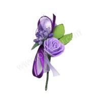 Poročni naprsni šopek - lila/vrtnica 1