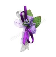 Poročni naprsni šopek - lila/vijola