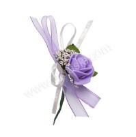 Poročni naprsni šopek - lila/vrtnica 2