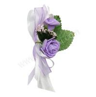 Poročni naprsni šopek - lila/vrtnica 3