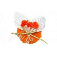 Poročni naprsni šopek - oranžen/vrtnica 1