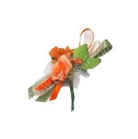 Poročni naprsni šopek - oranžno/zelen - vrtnica/manjši