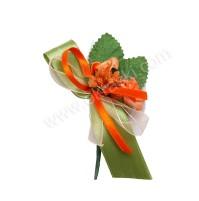 Poročni naprsni šopek - oranžno/zelen - vrtnica/večji