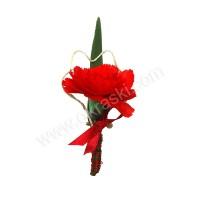 Poročni naprsni šopek - rdeč/nagel - grajski