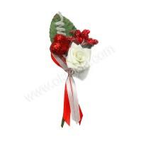 Poročni naprsni šopek - rdeči/srce