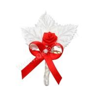 Poročni naprsni šopek - rdeč/vrtnica - listki