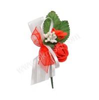 Poročni naprsni šopek - rdeč/vrtnica - večji