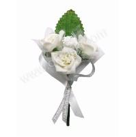 Poročni naprsni šopek - srebrn/vrtnice 2