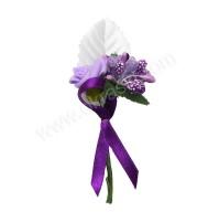 Poročni naprsni šopek - viola/vrtnica