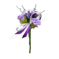 Poročni naprsni šopek - lila/vrtnica 4