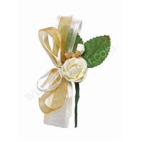 Poročni naprsni šopek - zlato/bel - večji
