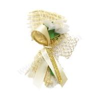 Poročni naprsni šopek - zlat/mreža