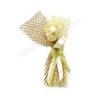 Poročni naprsni šopek - zlat/rožica 2