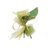 Poročni naprsni šopek - zlato/zelen