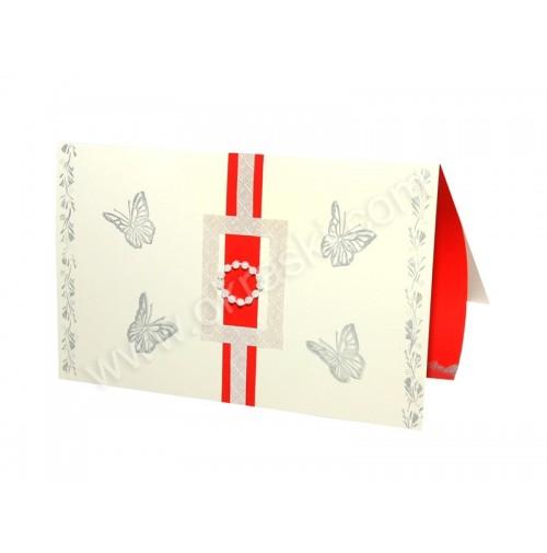 Vabilo - rdeče/belo - metulji