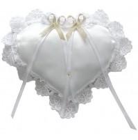 Poročna blazinica - srce/belo-zlata
